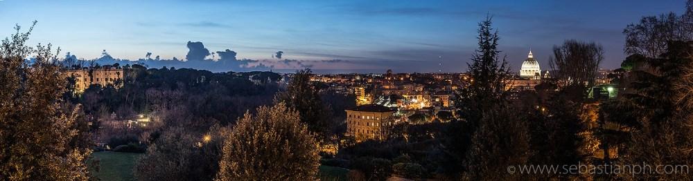 panorama di roma, gianicolo, skyline, tramonto, notte, san pietro, vaticano, fotografo professonista di matrimonio ed engagement a roma