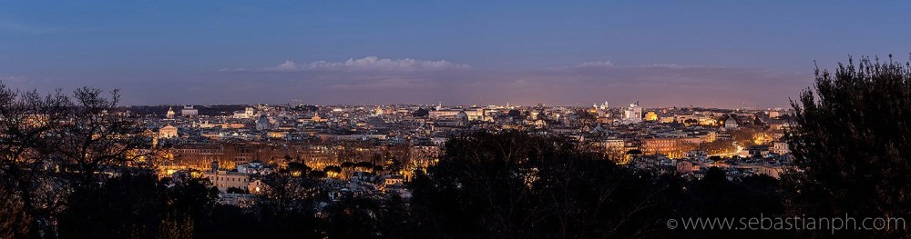 rome skyline, panorama from gianicolo, sunset, night, altare della patria, professional wedding and engagement photographer rome